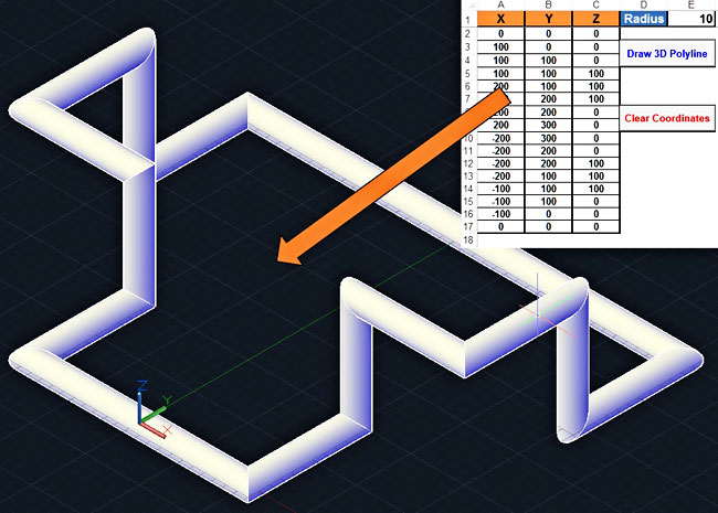 Draw A 3D Polyline Pipe Like In AutoCAD Using Excel VBA