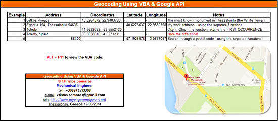 Geocoding Using VBA & Google API – My Engineering World