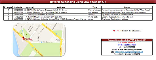 Reverse Geocoding Using VBA & Google API – My Engineering World