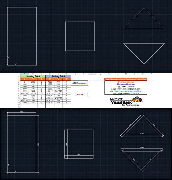 Add Dimensions In AutoCAD Using Excel VBA