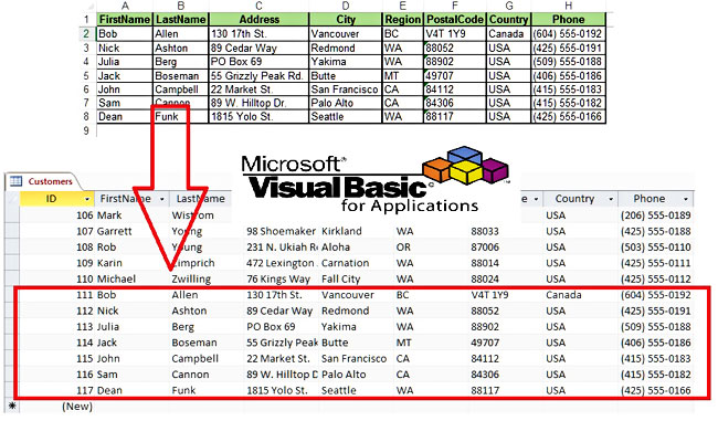 Add Records Into Existing Access Table From Excel Using VBA